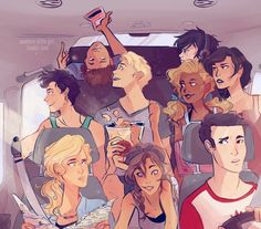 The seven, Nico, and Reyna on a road trip