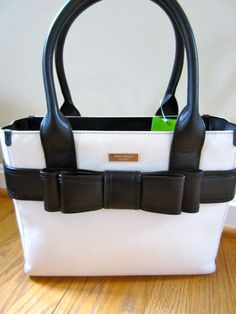 Kate Spade Villabella Avenue Quinn Bone Leather Black Bow Purse Handbag Bag