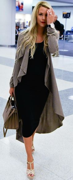 #fall #street #style | Taupe Waterfall Coat + LBD