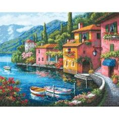 """Gold Collection Lakeside Village Counted Cross Stitch Kit-15""""X12"""" 16 Count 