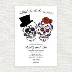 until death do us part wedding invitation - printable file - Dia de los Muertos. $32.00, via Etsy.