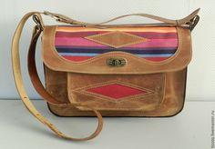 Купить Сумка RNm55s157 - рыжий, в полоску, охра, сумка, сумка из натуральной кожи, сумка женская