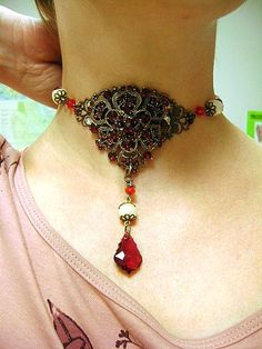 Handmade Gothic inspired Ruby Choker Necklace