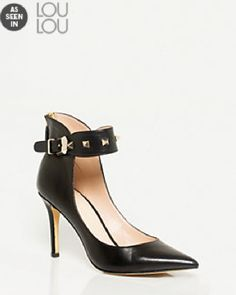 As Seen In Loulou Magazine, Leather-Like Ankle Strap Pointy Toe Pump