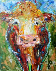 Original Cow palette knife painting oil by Karensfineart