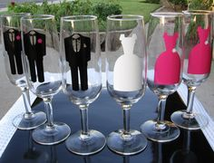 Arte & Casamento: taça personalizada para os noivos e padrinhos.