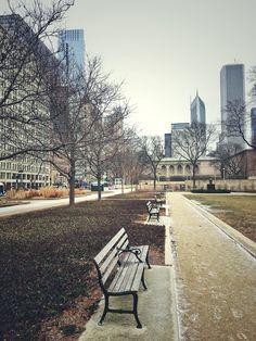 Bench, Chicago Photography, Chicago, Chicago Prints, City Photography, Large Art Print, Travel Art, Landscape, Cityscape, Park, USA, America