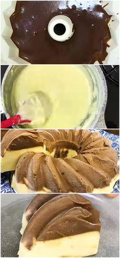 PUDIM DE SORVETE CHOCOLATE COM CREME cremoso e refrescante. #pudim #sorvete #chocolate #creme #sobremesa #receita #gastronomia #culinaria #comida #delicia #receitafacil