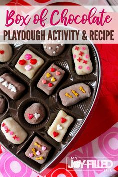 Kids will have so much fun with this box of chocolate playdough activity and recipe. It's sure to spark your child's imagination and creativity. Playdough Activities, Fun Activities For Kids, Preschool Worksheets, Winter Activities, Homemade Playdough, Valentines Day Activities, Chocolate Box, Clean Eating Snacks, Easy Meals