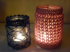crocheted jar decorations -   candle holders  anyone crafty in the family?  Put em to work!