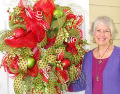 Deco Mesh Christmas Door Wreath Outdoor Wreath (and video filmed when this wreath was made) by http://www.LadybugWreaths.com, $289.97