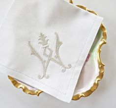 Embroidered Handkerchiefs, Dinner Napkins, Cocktail Napkins and Hand Towels - French Antique Monogram Design, Letter W only