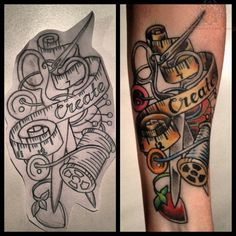 Sewing Button Tattoo Designs | Sewing Create Banner Tattoo