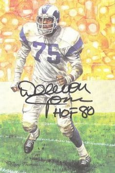 "Deacon Jones Autographed Los Angeles Rams Goal Line Art Card by DenverAutographs. $39.99. This is a limited edition of 5000, Goal Line Art card which has been personally autographed by Deacon Jones in black sharpe with HOF. From the original done by Gary Thomas, card measures 4""x6"" and is mint condition. He revolutionized the position druing his fifteen year career with the Rams (1961-71), San Diego Chargers (72-73) & Washington Redskins in 1974. Was the anchor of the Fe..."