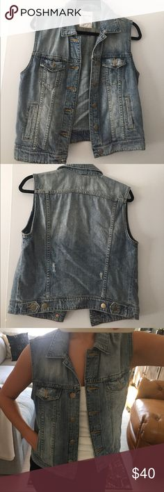 J. Crew denim vest in tinted-out wash Boxy fit. Amazing condition - worn once. Comes from a home without pets or smoking. J. Crew Jackets & Coats Vests