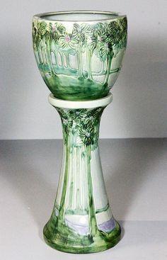 Roseville Vista jardiniere and pedestal of large size, no marks on pedestal, vase stamped on base