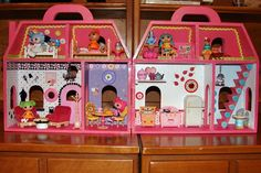 My Lalaloopsy Mini Doll House Creation - I made this with an unfinished house from the craft store, paint, buttons, stickers, and mini Lalaloopsy and Syvanian furniture. Read my blog to see the process.  www.diaryofadollhouse.com/i-created-my-own-lalaloopsy-mini-doll-house - Was sew fun to make!