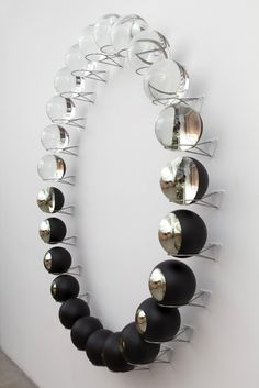 asylum-art: Olafur Eliasson: Your Lost Outside, 2014 24 partially silvered glass spheres 24 stainless steel wall mounts 190 x 190 x 20 cm One of the more selfie inducing pieces on show this year . Tanya Bonakdar, Frieze New York 2014 Studio Olafur Eliasson, Wal Art, Instalation Art, Art Object, Art Plastique, Oeuvre D'art, Sculpture Art, Metal Sculptures, Abstract Sculpture