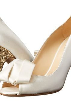 Kate Spade New York Clarice (Ivory Satin/Gold Glitter) Women's Toe Open Shoes - Kate Spade New York, Clarice, S942302HPSAT, Women's Dress Shoes Shoes, Opentoe/Peeptoe, Open Toe, Open Footwear, Footwear, Shoes, Gift, - Fashion Ideas To Inspire