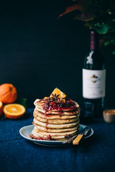 Recipe to make Buttermilk Pancakes with Caramelized White Chocolate and Gluhwein Jam