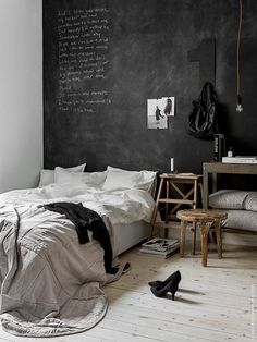 #Bedroom with black chalkboard wall                                                                                                                                                                                 More