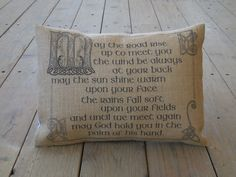 Irish Blessing Burlap Pillow  May Road by PolkadotApplePillows