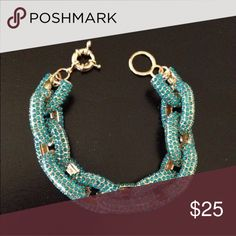 Aqua Pave Bracelet No trades, price firm. Gold tone Jewelry Bracelets