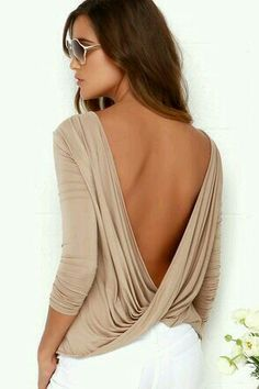 blouse top backless backless top open back twists long sleeves long sleeve crop top sexy summer cute draped beige casual Love Fashion, Fashion Beauty, Fashion Outfits, Womens Fashion, Fashion Fall, Style Fashion, Fashion Trends, Spring Summer Fashion, Spring Outfits