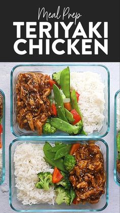 prep the easiest crock pot teriyaki chicken with stir-fried veggies and white rice for a balanced healthy meal all week long.Meal prep the easiest crock pot teriyaki chicken with stir-fried veggies and white rice for a balanced healthy meal all week long. Best Meal Prep, Chicken Meal Prep, Oven Chicken, Keto Chicken, Chicken Lunch Recipes, Lunch Box Recipes, Roast Chicken, Roast Beef, Grilled Chicken