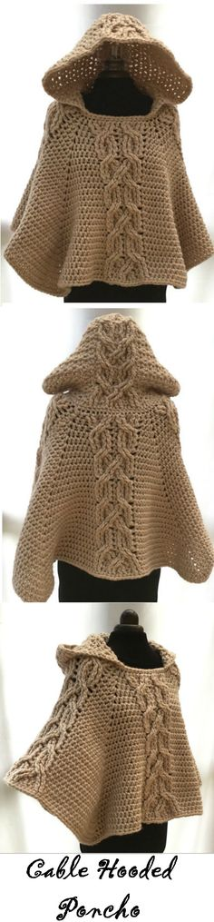 Cable Hooded Poncho1