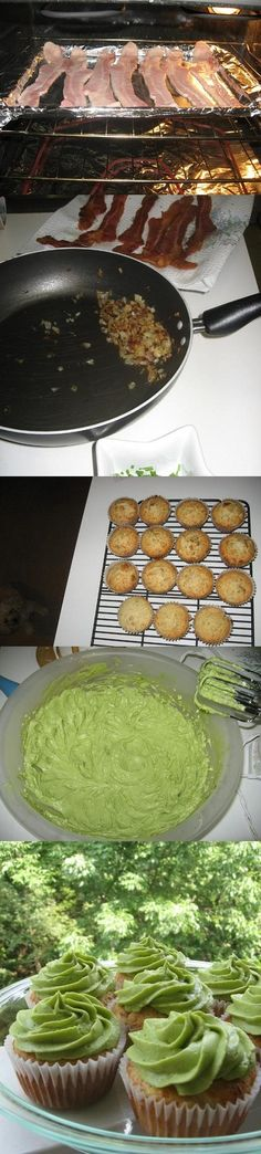 Cheddar Chive and Bacon Cupfakes with Avocado Frosting http://willowbirdbaking.com/2009/07/11/cheddar-chive-and-bacon-cupfakes-with-avocado-frosting/