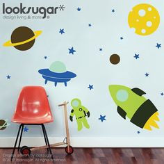 $115. Outer Space Wall Decal - Nursery Wall Decals - Rocket Wall Decal - Rocket Sticker - 0083