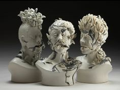 Viral Series, ceramic busts by Jess Riva Cooper