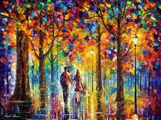 LOVERS — PALETTE KNIFE Oil Painting On Canvas By Leonid Afremov