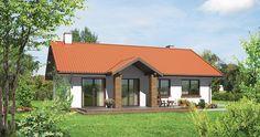 """Projekt domu """"Majowy"""" Murator M131 - klasyczny parterowy dom na planie prostokąta, przykryty dwuspadowym dachem z szerokimi okapami. Prosta konstrukcja nie przysporzy kłopotów podczas realizacji a jego użytkowanie będzie ekonomiczne."""