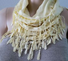 Yellow Scarf Butter Cream Yellow Lace Scarf  Cotton by MaxiJoy, $14.00
