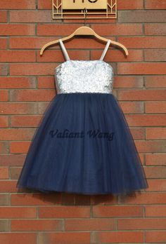 Silver Sequin Navy Blue Tulle Flower Girl Dress Wedding Baby Girls Dress Rustic Baby Birthday Dress Knee Length by Valiantwang on Etsy https://www.etsy.com/listing/233936579/silver-sequin-navy-blue-tulle-flower