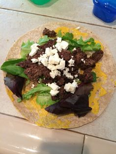 I finished the fix last week but am still keeping up with my eating and workouts! Today's lunch was sooo good! One yellow for the wrap, one red for the beef, half a green for the lettuce and half a blue for the feta. I had too much beef to fit in the wrap so I had some on the side!