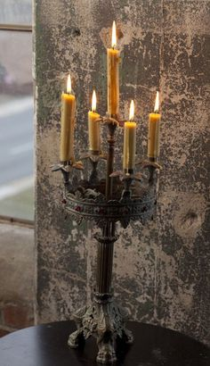 Antiqued Brass Patina 5-candle Girondole