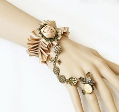 Rococo Silk Ribbon Bronze Bands Wristbands Slave Bracelet ;China Jewelry Dropship - Free Shipping - Wholesale Jewelry Accessories