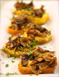 Polenta Crostini Bites with Caramelized Mushroom Cicchetti  #Tapas #SundaySupper #appetizers | La Bella Vita Cucina