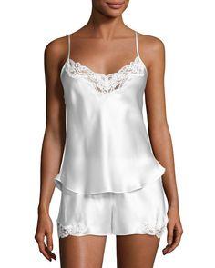 Christine Designs Bijoux Silk Satin Cami & Short Pajamas Set In Light Pink Satin Pyjama Set, Pajama Set, Silk Pj Set, Satin Cami, Silk Satin, Pink Silk, Pink Lace, Satin Pjs, Silk Charmeuse