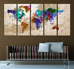 Abstract world map canvas print colorfull wall decor 5 p https push pin world map canvas print watercolor wall art5 pan https gumiabroncs Choice Image