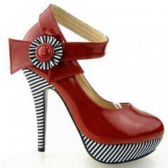 Show Story Sexy Flower Ankle Strap Stripe Stiletto Platform Pumps Shoes,LF30404