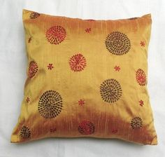 Retro Circles cushion cover in golden yellow dupioni silk 18x18. Can be customised.
