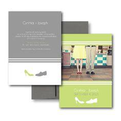 Grey Wedding Invitations, Lime Wedding Invitations, Green Wedding Invitations, Shoe Wedding Invitation