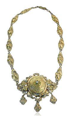 Brautschmuck Garnitur in Schaumgold, Ohrringe Halskette in 585 Gold #Schmuck #Schmuckboerse #vintage #antikerschmuck  #antiquejewels #heritagejewels #jewelry http://schmuck-boerse.com/sets/2/detail.htm