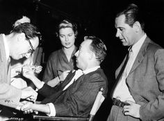 Grace Kelly, Bing Crosby, Bill Holden on the set of The Country Girl