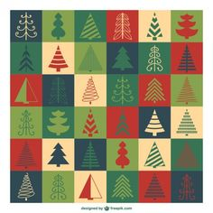 Christmas trees pattern Free Vector