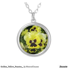 Golden_Yellow_Pansies,_ Round Pendant Necklace